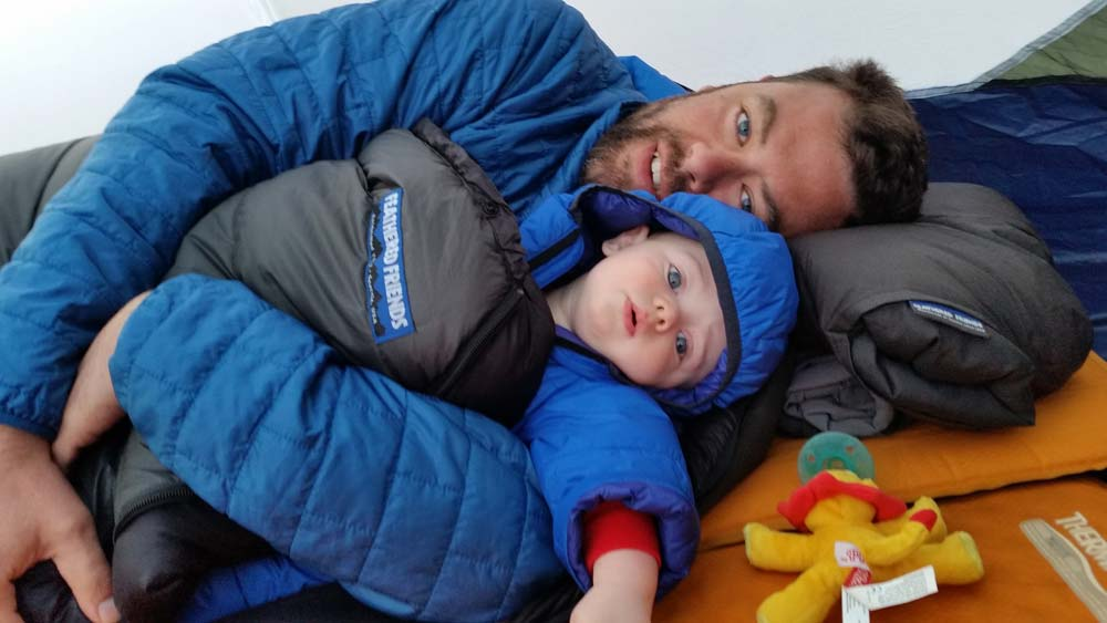 cuddle time while camping with your infant