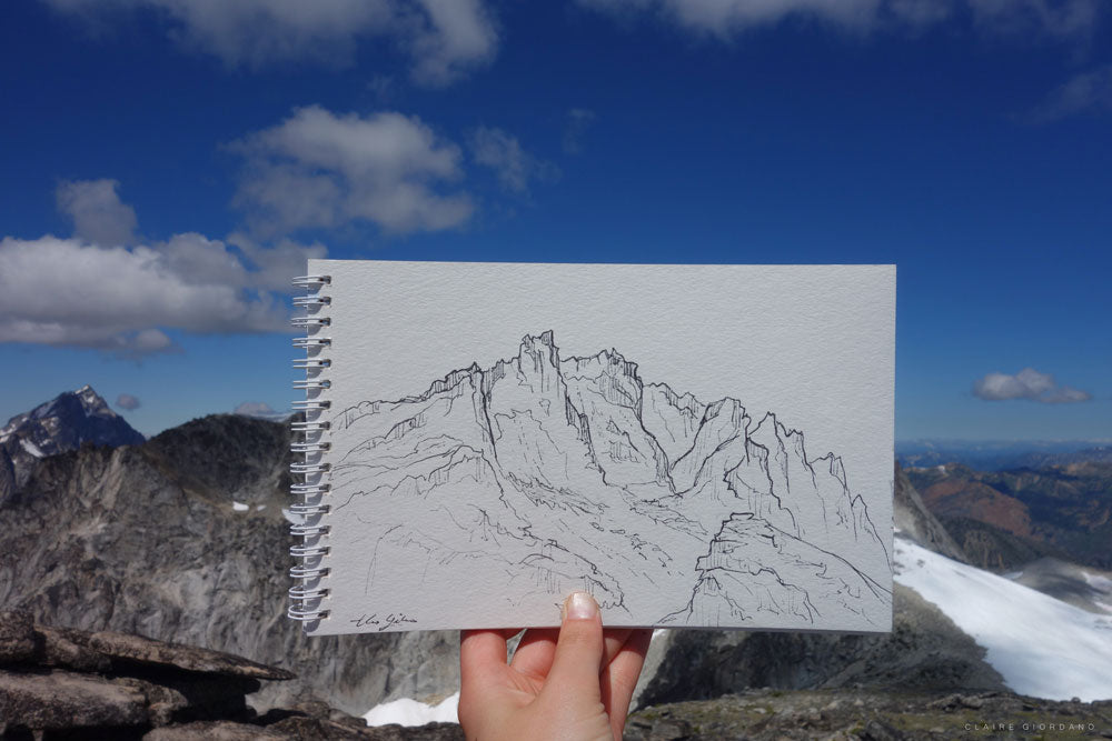 Ink sketch of Dragontail Ridge from the top of Little Annapurna.