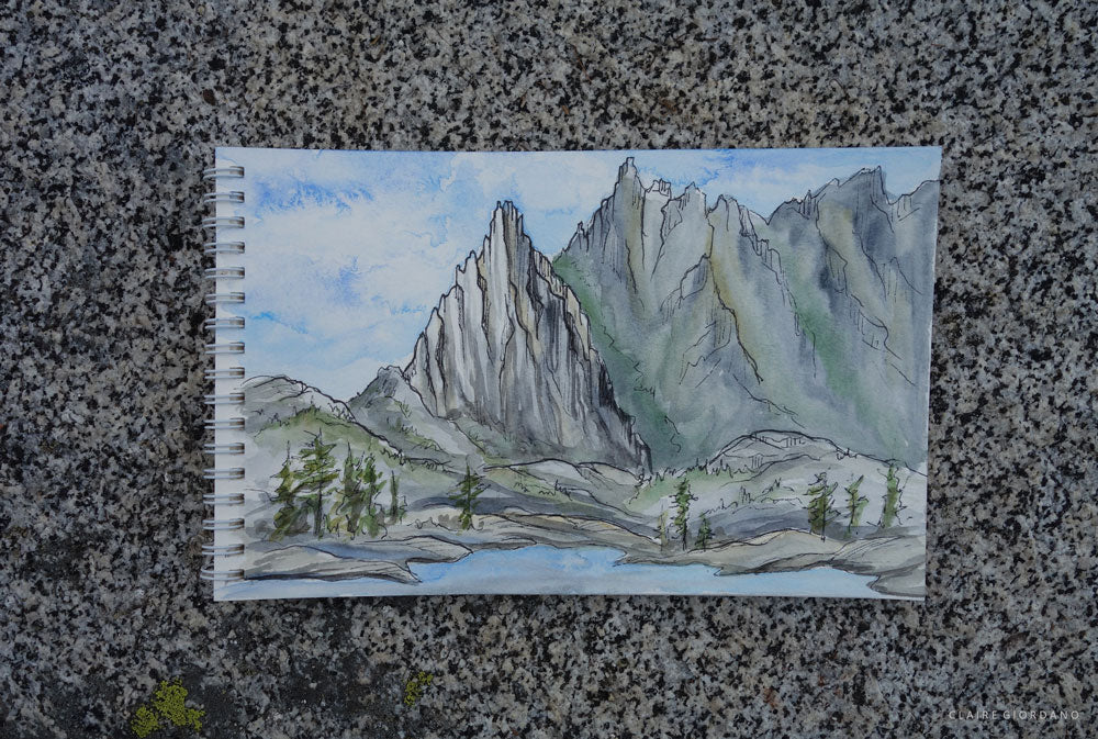 Prusik Peak and the Temple, sketched shortly before dark clouds rolled over and dropped a little rain.