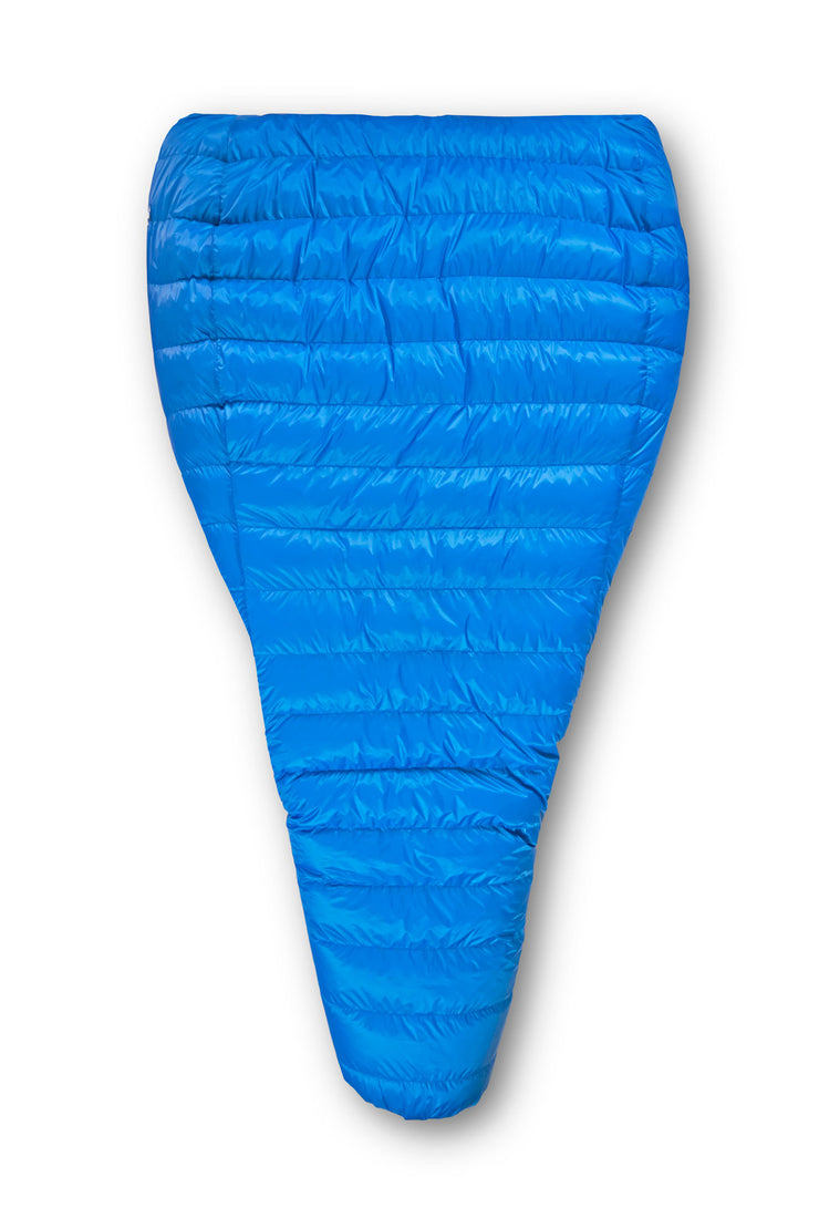 Feathered Friends Flicker UL Down Quilt Sleeping Bag Partially Unzipped Top View