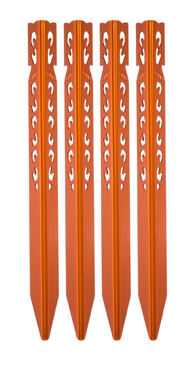 Mountaineering Tent Stake Long Orange 4 Pack