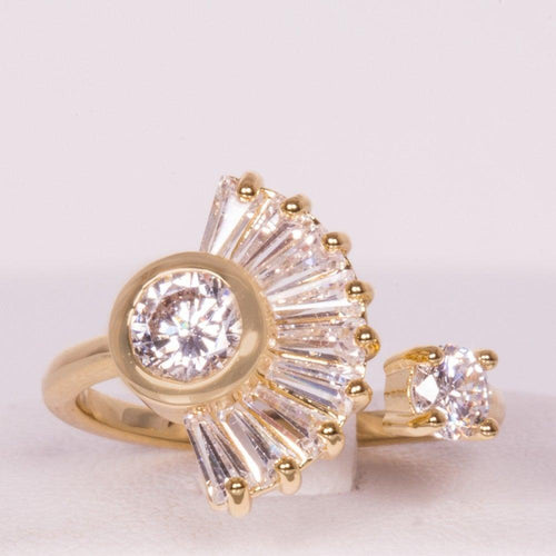 Gold plated alloy with white Cubic zircon(CZ) ring