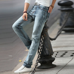 Men Vintage Pencil Jeans Casual Slim