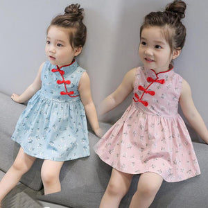 Fashion Summer Kids Girls Dresses Cheongsam
