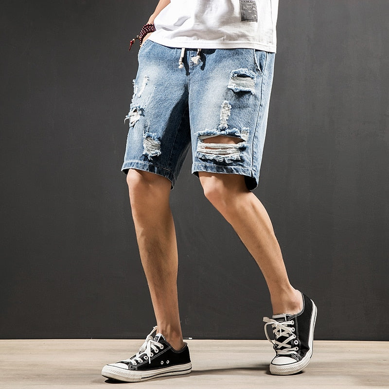2018 summer boutique hole denim shorts men's