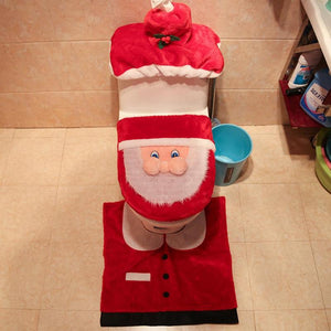 3Pcs/set Toilet Seat Cover Cap Christmas Decorations