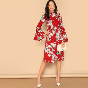 Ruffle Detail Bell Sleeve Red Dress Flower