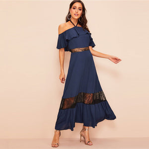 Navy Glamorous Halter Off The Shoulder Lace