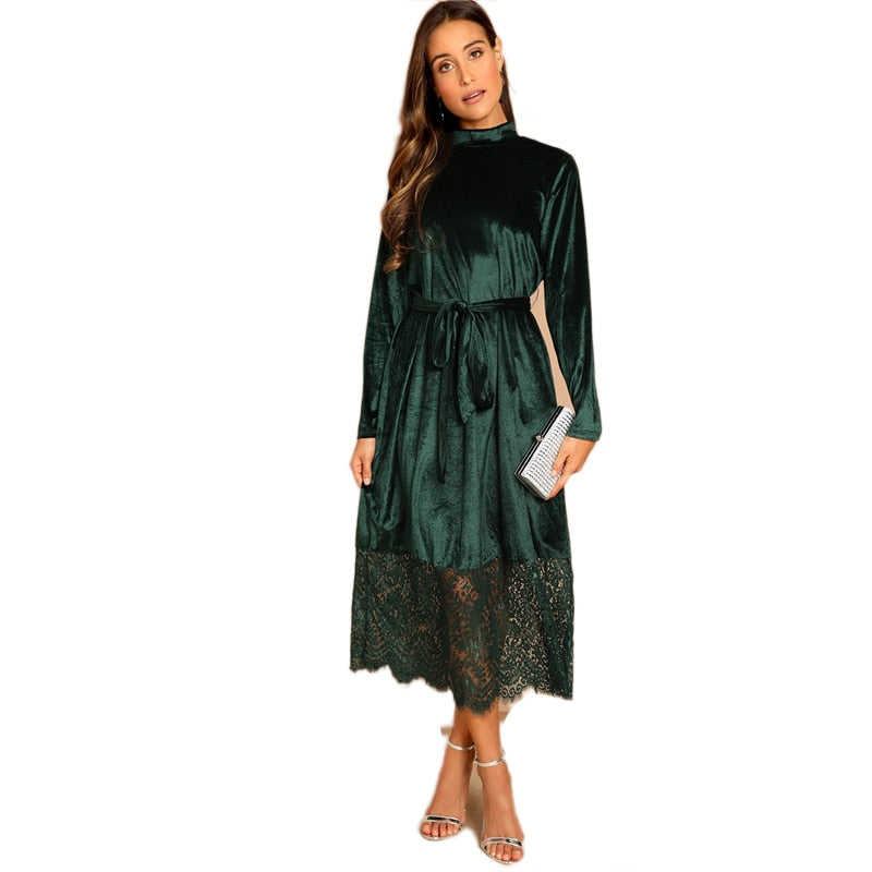 Green Waist Belted Mock-Neck Velvet Dress