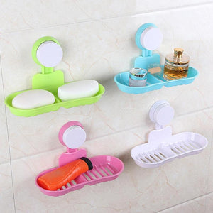 Suction Cup Wall-mounted Soap Box Double Drain