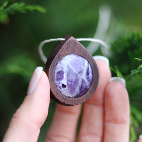 Image of Amethyst Walnut Wood Necklace