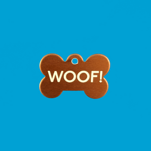 """Woof!"" Metal Bone Tag"