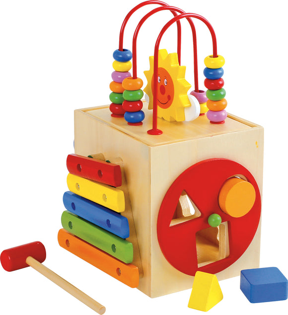 Sun Activity Cube for Toddlers with Xylophone, Clock, Abacus & Sliders