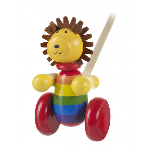 Lion Wooden Push Along Toddler Toy (Boxed)