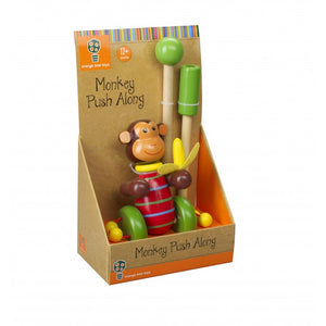 Monkey Wooden Push Along Toddler Toy (Boxed)