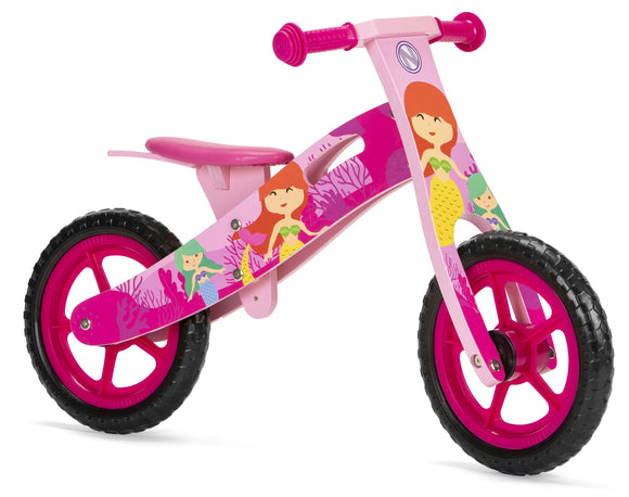 Wooden Balance Bike with Mermaid design (2 years +)