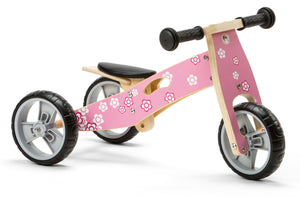 Mini Balance Bike & Trike 2 in 1 in Pink Flower design (18 months +)