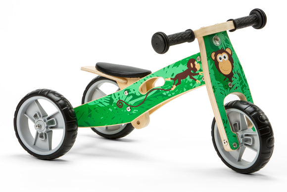 Mini Balance Bike & Trike 2 in 1 in Green Monkey Design (18 months +)