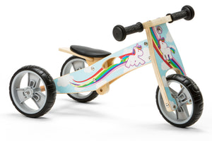 Mini Balance Bike & Trike 2 in 1 in Unicorn Design (18 months +)