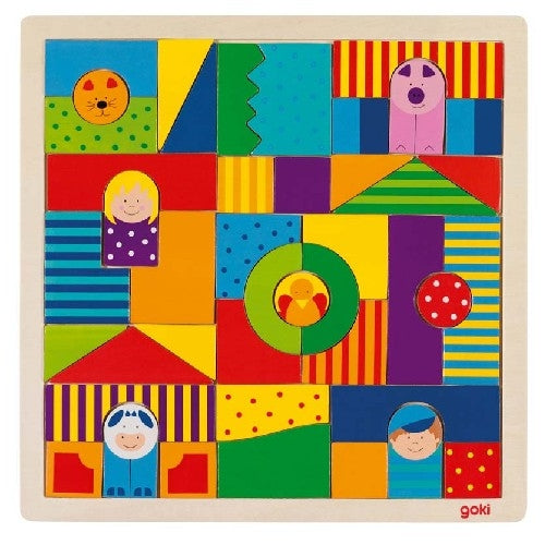 Farm Wooden Blocks & Shape Puzzle Board