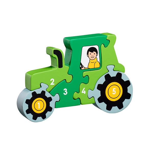 Green Tractor 1-5 Numbers Chunky Jigsaw Puzzle