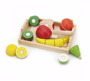 Six Cutting Fruits with Wooden Slice and Carrying Tray
