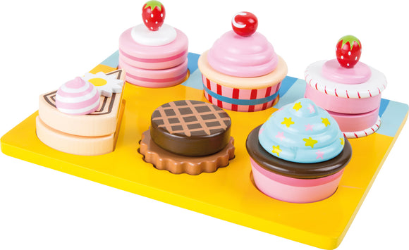 Six Assorted Mix & Match Slicing Cupcakes and Colourful Tray