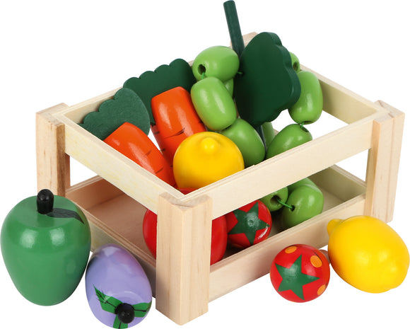Box of Assorted Wooden Fruit and Vegetables