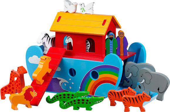 Small Rainbow Noah's Ark with 16 Colourful Characters