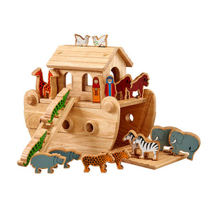 Junior Noah's Ark with 18 Colourful Animals plus Mr & Mrs Noah in Natural Wood