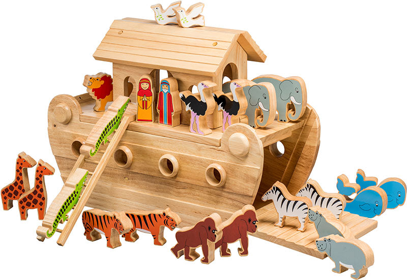 Large Deluxe Noahs Ark With 22 Animals Plus Mr Mrs Noah In Natural Wood