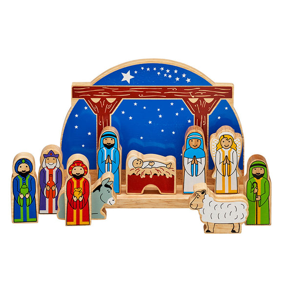 Starry Night Nativity Stable Playscene with 10 Characters