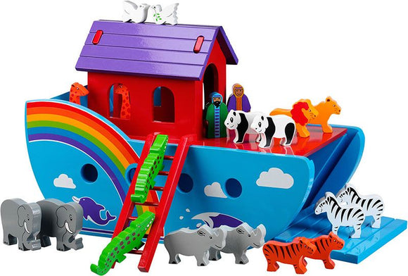Large Rainbow Noah's Ark with 18 Animals plus Mr & Mrs Noah in Colourful finish