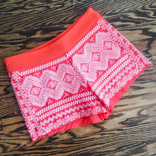 Aruba Embroidered Shorts Coral