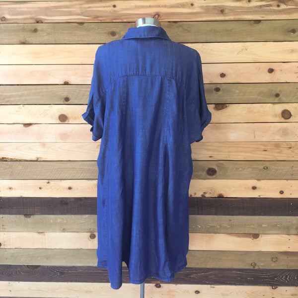 Draped Tencel Shirt Dress