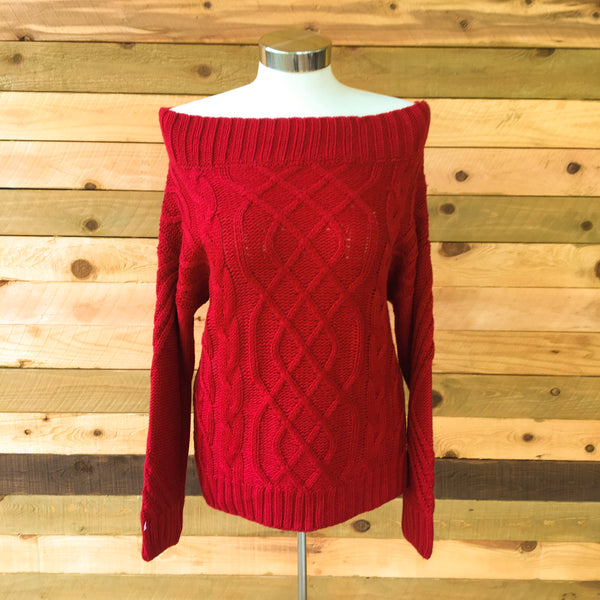 The Softest Cable Knit Sweater Red