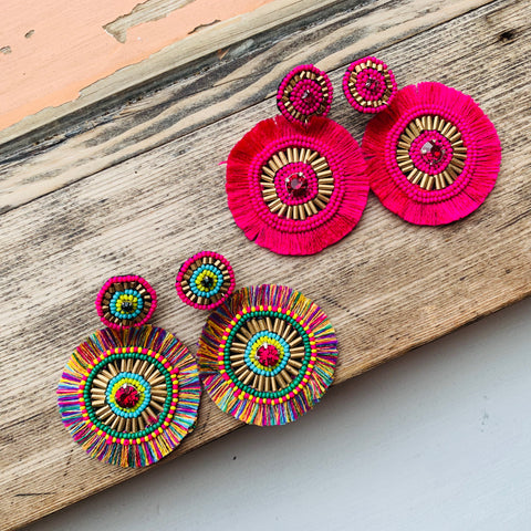 Beaded Bullseye Earrings