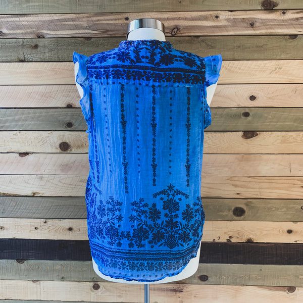 Blue Voile Top