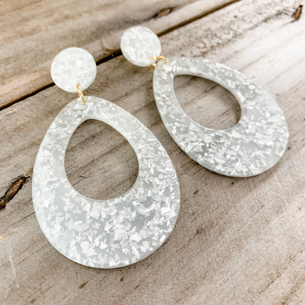 Confetti Drop Earrings Silver
