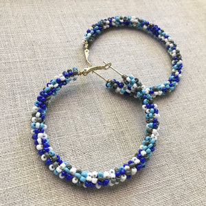 Seed Bead Hoops Blue