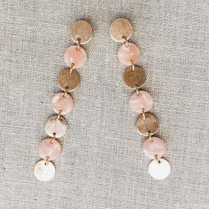 Disc Drop Earrings Rose