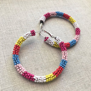 Color Block Beaded Hoops