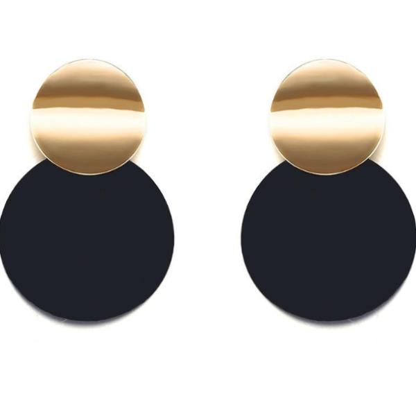 Round Black Stud Earrings