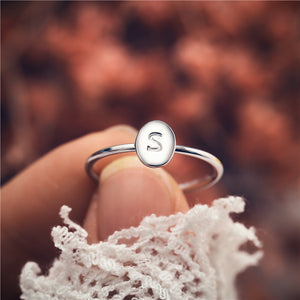 Tiny Oval A-Z Letter Ring