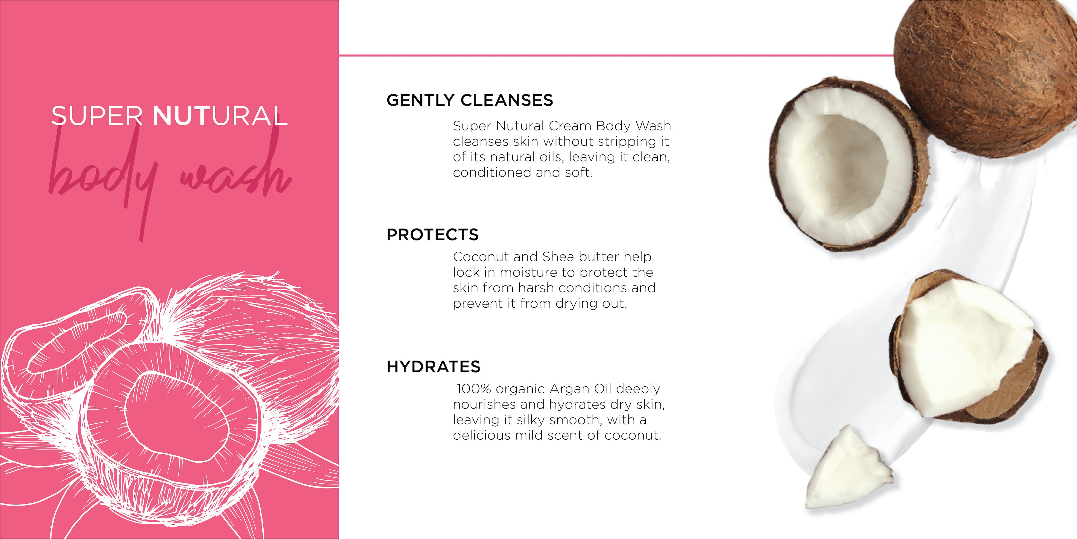 beauty nut cream body wash with argan oil and coconut oil, 250ml | cruelty-free