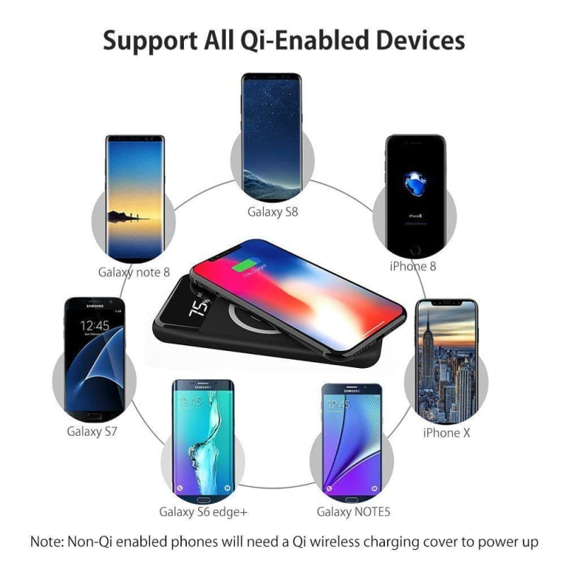 10000 mah Qi Wireless Charging Power Bank with LED Display