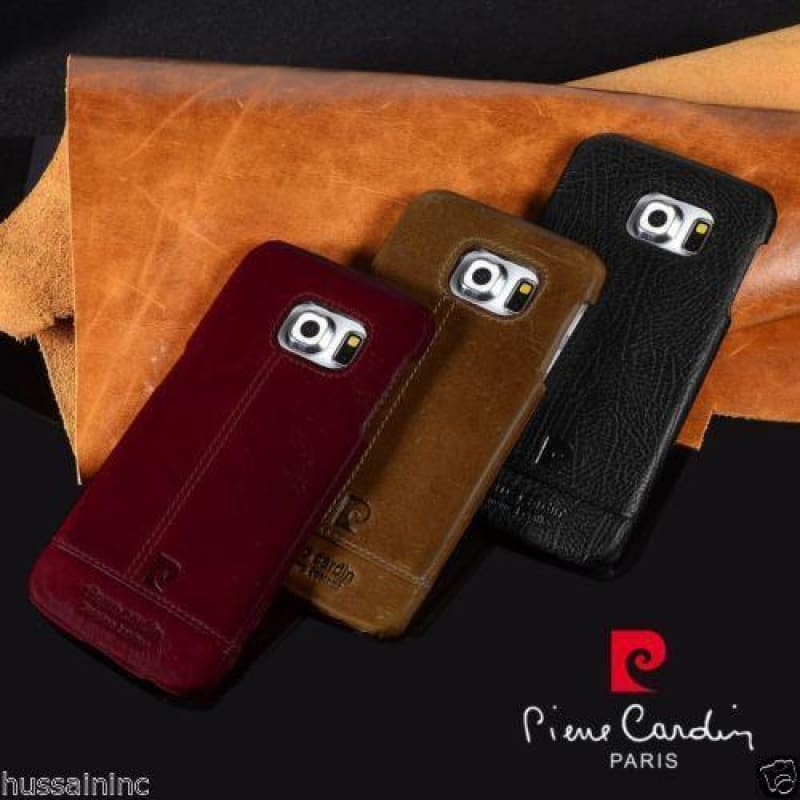 timeless design 5d563 6936e Hand Crafted Pierre Cardin Leather Back Cover Samsung Galaxy S6 Edge.
