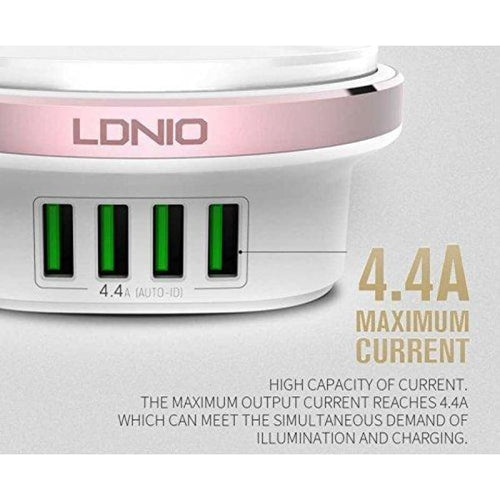 CellPhonez.in - LDNIO A4406 4.4A 4 Port USB Charging Adapter With LED Press Lamp Light