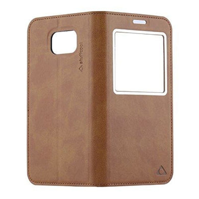 CellPhonez.in - Stuffcool Baron View Leather Flip Case for Samsung Galaxy S6 Edge - Brown