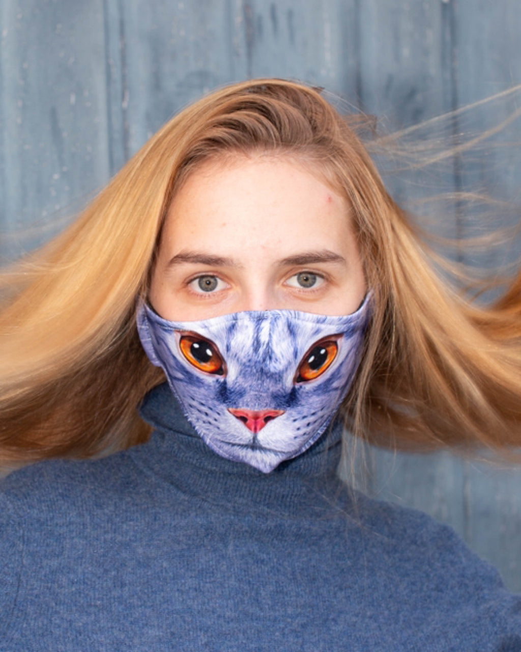 Adult and Kids Animal Cloth Face Mask - Cat Brown Eyes